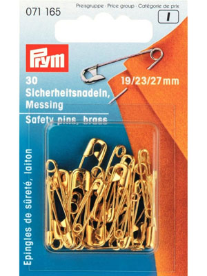 Prym Safety pins, 19/23/27mm, assorted, gold-coloured (071165)